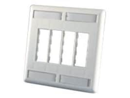 Ortronics TracJack Faceplate, 8-port Dual-gang, Plastic, Cloud White, OR-40300554, 15530469, Premise Wiring Equipment