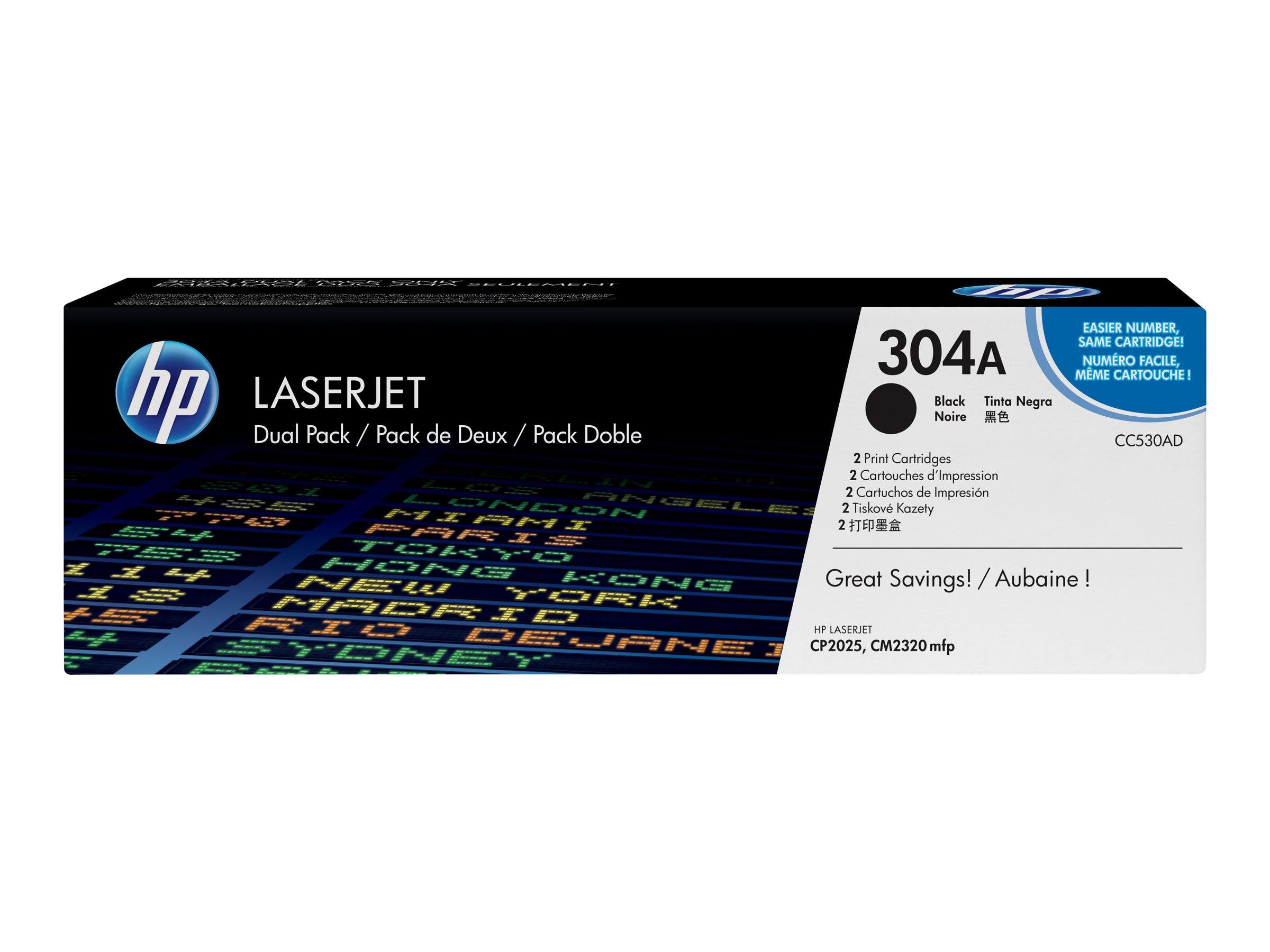 HP 304A (CC530AD) 2-pack Black Original LaserJet Toner Cartridges, CC530AD, 9024033, Toner and Imaging Components