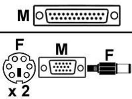 Aten MasterView Matrix Console DB25 M to Mini-DIN-6 F, 6ft, 2L1701S, 232734, Cables