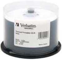 Verbatim 700MB 52x White Thermal Printable CD-R Media (50-pack Spindle), 94949, 5385202, CD Media