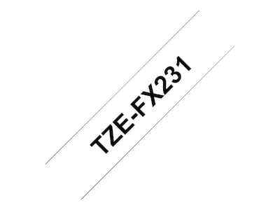 Brother 0.47 x 26.2' TZeFX231 Black on White Flexible ID Tape, TZEFX231, 13007535, Paper, Labels & Other Print Media