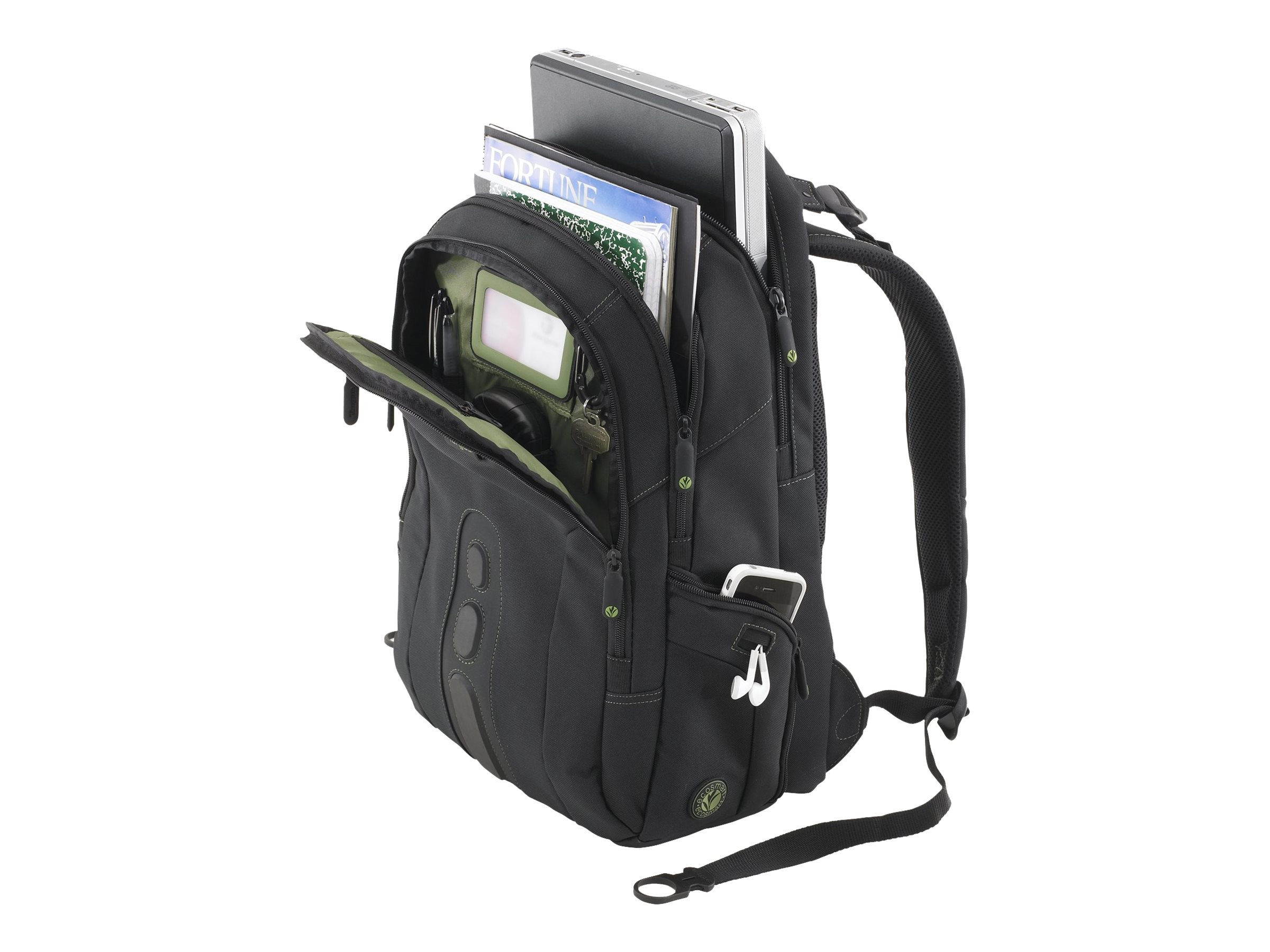 Targus Spruce EcoSmart 15.6 Backpack, Black Green, TBB013US, 9568129, Carrying Cases - Notebook