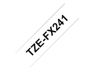 Brother 0.7 x 26.2' TZeFX241 Black on White Flexible ID Tape, TZE-FX241, 13007543, Paper, Labels & Other Print Media
