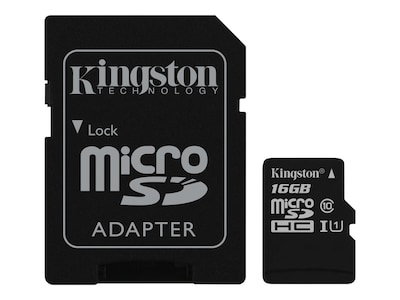 Kingston 16GB Canvas Select MicroSDHC Flash Memory Card with SD Adapter, SDCS/16GB, 35111641, Memory - Flash