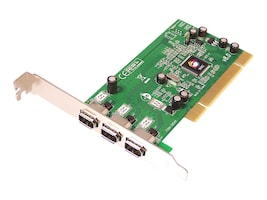 Siig 1394 3-Port PCI RoHS Compliant 1394 FireWire Adapter, NN-400012-S8, 7018465, Controller Cards & I/O Boards