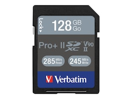 Verbatim 128GB Pro II Plus 1900X SDXC Flash Memory Card, 99165, 36161084, Memory - Flash