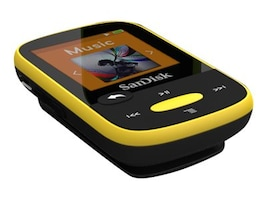 SanDisk 4GB Clip Sport MP3 Portable Audio Player - Yellow, SDMX24-004G-A46Y, 16738085, Digital Media Players