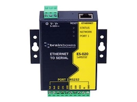 Brainboxes Ethernet 1 Port RS232 10xScrew Terminals Blocks, ES-020, 14490303, Adapters & Port Converters