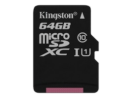 Kingston 64GB Canvas Select MicroSDXC Flash Memory Card with SD Adapter, SDCS/64GB, 35111675, Memory - Flash