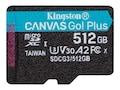 Kingston 512GB Canvas Go! Plus UHS-I microSDXC Memory Card, SDCG3/512GBSP, 38196811, Memory - Flash