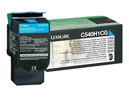 Lexmark Cyan High Yield Return Program Toner Cartridge for C540, C543 & C544 Printers & X543 & X544 MFPs, C540H1CG, 9163914, Toner and Imaging Components