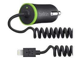 Belkin Coiled Mini Car Charger 10W 2.1A, 4ft Lightning Cable, Black, F8J074BTBLK, 16736274, Battery Chargers