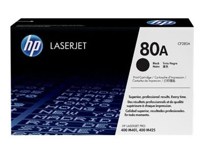 HP 80A (CF280A) Black Original LaserJet Toner Cartridge, CF280A, 13785564, Toner and Imaging Components - OEM