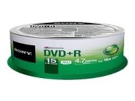 Sony DVD+R Media (15-pack Spindle), 15DPR47SP, 15451584, DVD Media