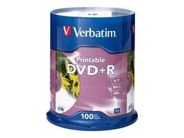 Verbatim 16x 4.7GB DVD+R White Inkjet Printable DVD+R Media (100-pack Spindle), 95145, 5994278, DVD Media