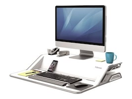 Fellowes Lotus Sit Stand Workstation, White, 0009901, 33596710, Furniture - Miscellaneous