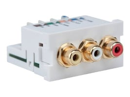 Leviton RCA Composite Video MOS Module, 110-style Termination, White, 41292-AEW, 15384908, Adapters & Port Converters
