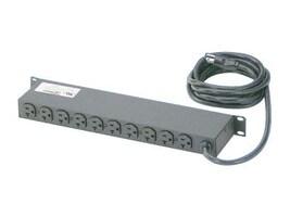 Panduit Horizontal Power Strip 1U 125V, 20A, 5-20P Input 10ft Cord (10) NEMA 5-20R Outlets, CMRPSH20, 12236651, Power Distribution Units