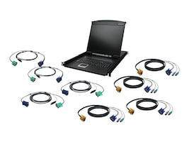 IOGEAR 19 LCD 8-Port KVM Kit, PS 2, USB, GCL1908KIT, 22073577, KVM Displays & Accessories