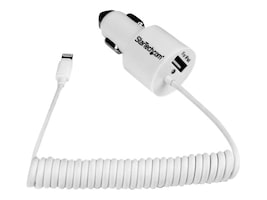 StarTech.com Dual Port Car Charger w  8-pin Lightning Connector, USB 2.0 Port High Power, USBLT2PCARW, 18035316, Automobile/Airline Power Adapters