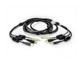 Apex PC Solutions KM Cable for USB Keyboard and Mouse with Audio and CAC, 10ft, CBL0133, 24989255, Cables
