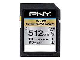PNY 512GB SDXC UHS-I Flash Memory Card, Class 10, P-SDX512U3H-GE, 32204454, Memory - Flash