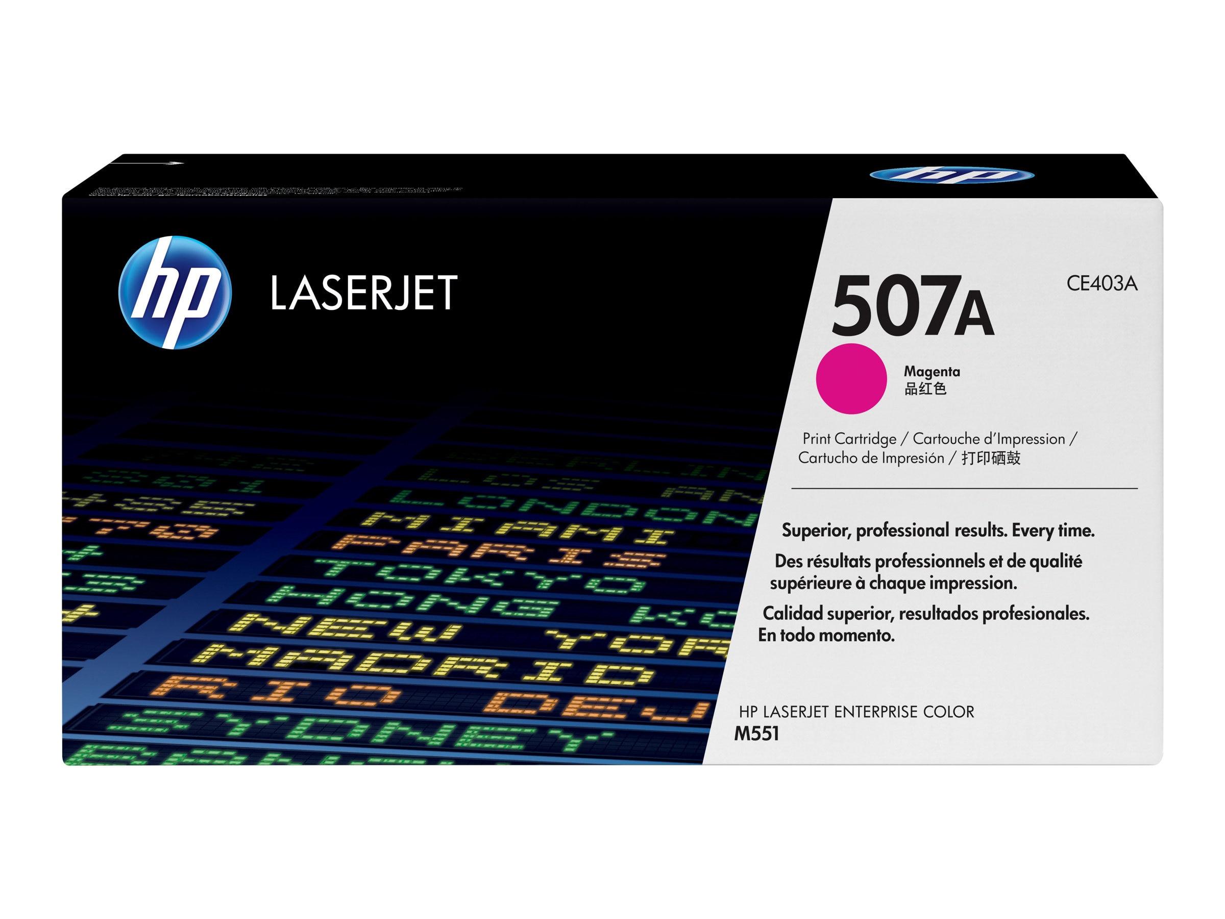 HP 507A (CE403A) Magenta Original LaserJet Toner Cartridge, CE403A, 13266570, Toner and Imaging Components