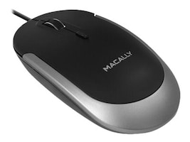 Macally USB Wired Optical Mouse blk/gr Main Image from Left-angle
