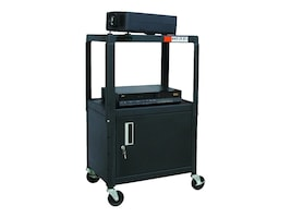 Buhl AV Steel Cart, Adjustable 26 to 42 with Locking Security Cabinet and Electric, HACAB4226E, 8848090, Computer Carts