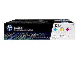 HP 126A (CF341A) 3-pack Cyan Magenta Yellow Original LaserJet Toner Cartridges, CF341A, 13617270, Toner and Imaging Components - OEM