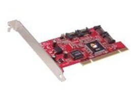 Siig Serial ATA 4-Channel RoHS Compliant Controller PCI-to-Serial ATA Adapter, SC-SA4011-S2, 6966210, Storage Controllers