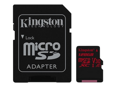 Kingston 128GB Canvas React MicroSDXC UHS-I Flash Memory Card with SD Adapter, Class 10, SDCR/128GB, 35243221, Memory - Flash