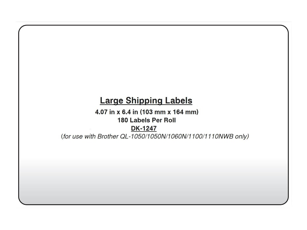 Brother 407 X 64 Large Shipping White Paper Label Roll 180 Dk