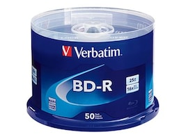 Verbatim 16x 25GB BD-R Branded Media (50-pack Spindle), 98397, 16493102, Blu-Ray Media