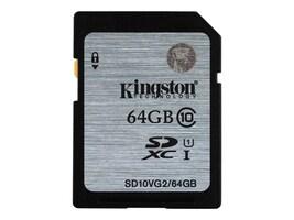 Kingston 64GB SDXC UHS-I Flash Memory Card, Class 10, SD10VG2/64GB, 26980941, Memory - Flash