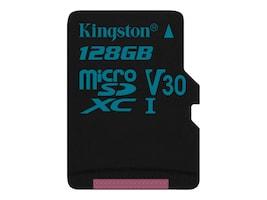 Kingston 128GB Canvas Go MicroSDXC UHS-I U3 Flash Memory Card, Class 10, SDCG2/128GBSP, 35190529, Memory - Flash