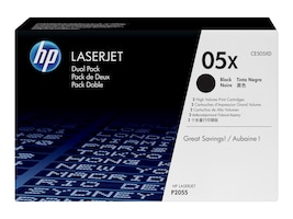 HP 05X (CE505XD) 2-pack High Yield Black Original LaserJet Toner Cartridges, CE505XD, 11226321, Toner and Imaging Components - OEM