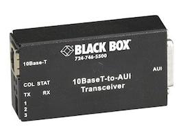 Black Box 10BaseT to AUI Transceiver, RoHS Compliant, LE180A, 8895419, Network Transceivers
