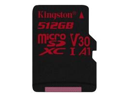 Kingston 512GB Canvas React MicroSDXC UHS-I Flash Memory Card, Class 10, SDCR/512GBSP, 36322790, Memory - Flash