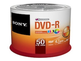Sony 16x 4.7GB Inkjet Printable DVD-R Media (50-pack Spindle), 50DMR47PP, 15780951, DVD Media