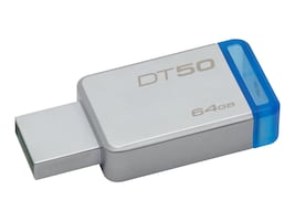 Kingston 64GB DataTraveler 50 USB 3.1 Flash Drive, Blue, DT50/64GB, 32476265, Flash Drives