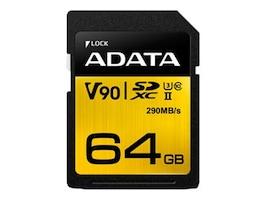 A-Data 64GB UHS-II U3 V90 SDXC Card, Class 10, ASDX64GUII3CL10-C, 36582840, Memory - Flash