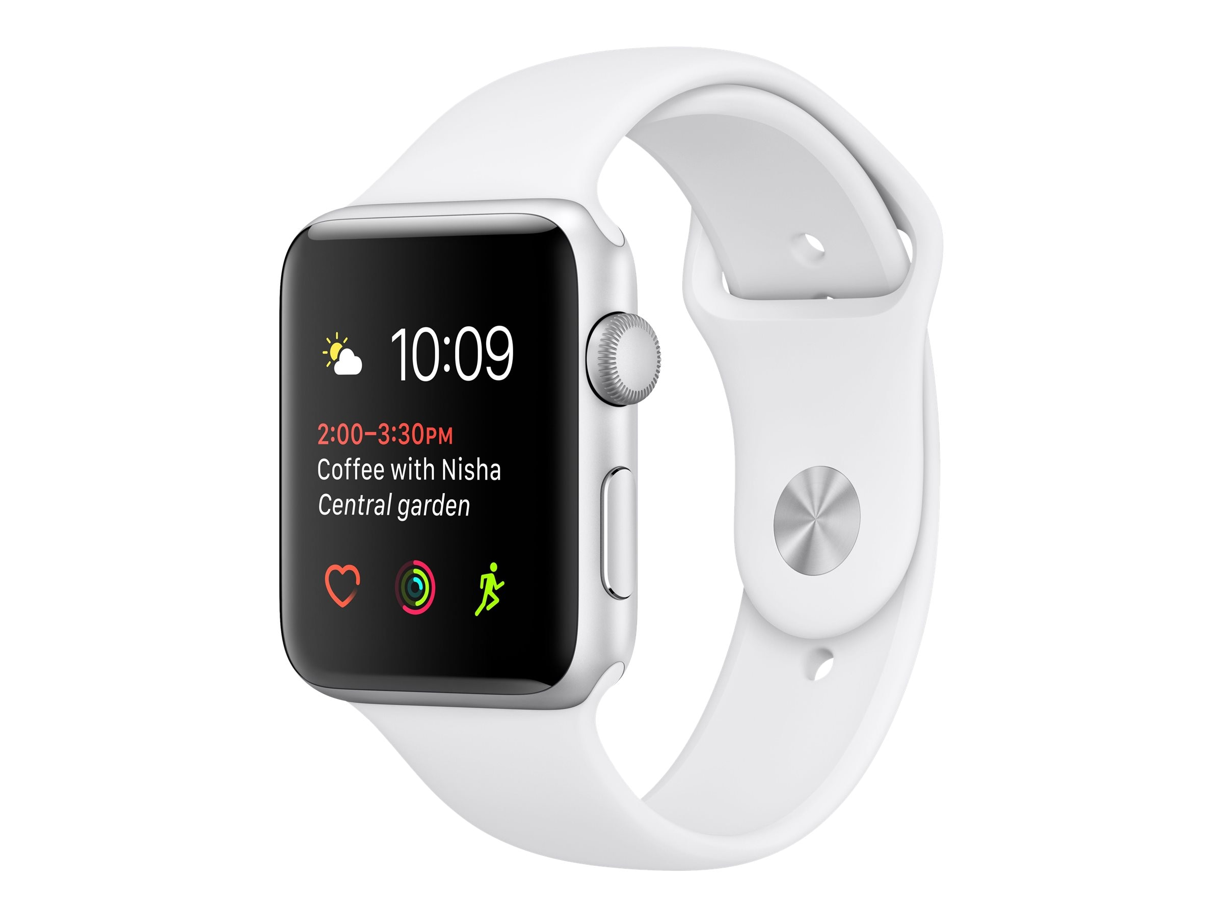 Apple Watch Series 1, 38mm, Silver Aluminum Case with White Sport Band, MNNG2LL/A, 32658595, Wearable Technology - Apple