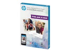 HP 4 x 5 Social Media Sticky-Back Photo Paper - White (25 Sheets), 1BG59A, 33743062, Paper, Labels & Other Print Media