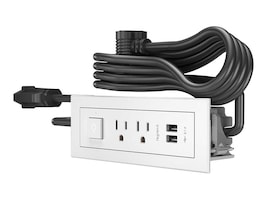 C2G Radiant Furniture Power Center w  2-Outlets, 2-USB Ports & Power Switch, White, 6ft Cord, 16361, 35400039, Power Strips