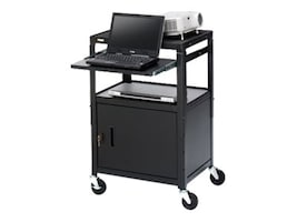 Bretford Manufacturing Adjustable Cabinet Cart with slide-Out shelf, 26-42in, CA2642NS, 8373493, Monitor & Display Accessories