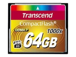 Transcend 64GB 1000x CompactFlash Memory Card, TS64GCF1000, 17463677, Memory - Flash