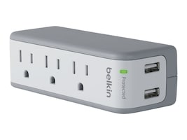 Belkin 3-Outlet Mini Surge Protector 918J with 2.1A USB Charging Ports, BST300BG, 15415495, Surge Suppressors