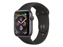 Apple Watch Series 4 GPS+Cellular, 44mm Space Gray Aluminum Case with Black Sport Band, MTUW2LL/A, 36143610, Wearable Technology - Apple