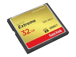 SanDisk 32GB Extreme CompactFlash Memory Card, SDCFXS-032G-A46, 16434401, Memory - Flash